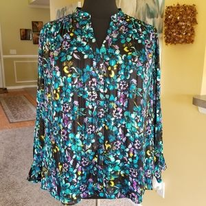 The Limited Floral Multicolored Black Blou…
